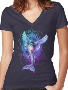 MermaidCaterCorn Women's Fitted V-Neck T-Shirt