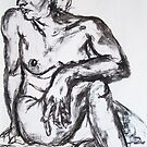 Nude Study Sitting - Charcoal by MelodyMoss