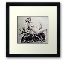 Faith leaning back on her elbows Framed Print