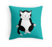 Meditating Tuxedo Kitty Throw Pillow
