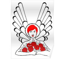 Red Angel Roses Poster