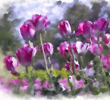 Watercolor effect pink tulips by JEOtterbacher