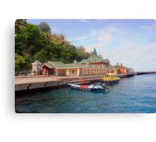 Martinique,customs house on beach Canvas Print