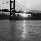 RFK Bridge at Sunset in BW by Bernadette Claffey