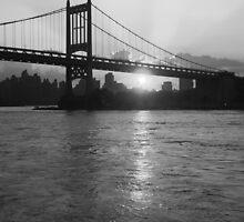 RFK Bridge at Sunset in BW by Bernadette Claffey