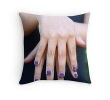 Checkerboard fingernails Throw Pillow