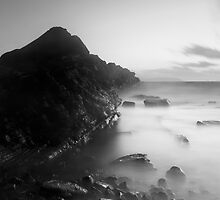 Kilve Sunset Through the Mist by kernuak