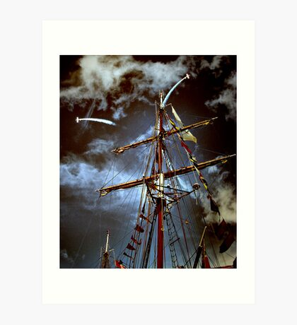 Tall Ships & silver birds (2) Art Print