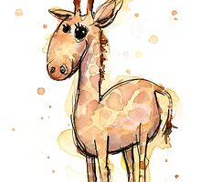 Cute Giraffe Watercolor by OlechkaDesign