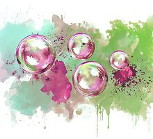 Watercolor soap bubble painting by Thubakabra