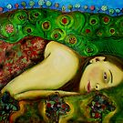 Girl in a Hundertwasser Landscape by Belinda &quot;BillyLee&quot; NYE (Printmaker)