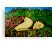 Girl in a Hundertwasser Landscape Canvas Print