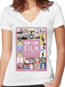 Rom Com Film Alphabet Women's Fitted V-Neck T-Shirt
