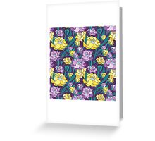 Purple and Yellow Peony Vector Pattern  Greeting Card