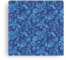 Blue Fresh Indian Vector Pattern Canvas Print