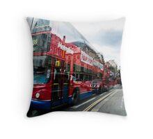 Big red bus Throw Pillow