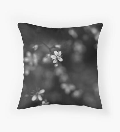 Blossom in black and white Throw Pillow
