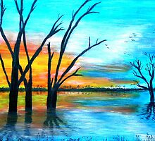 Sunset by Lake Bonney by Pam Amos