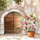 Arch and Flower, Tuscany, Italy by LinFrye