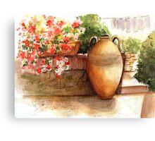 Flowered Courtyard - La Romita, Italy Canvas Print