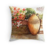 Flowered Courtyard - La Romita, Italy Throw Pillow