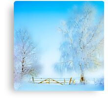 "Winter Landscape  ""Trees with fence"" Canvas Print"