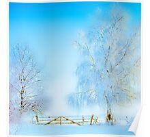 "Winter Landscape  ""Trees with fence"" Poster"