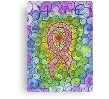 Breast Cancer Ribbon stained glass design Canvas Print