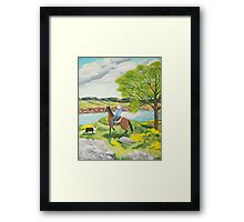 Out of the WEST ~ Australian Shepherd ~ Oil Painting Framed Print