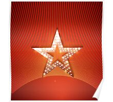 Light star on red background Poster