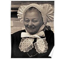 A lovely lady wearing a traditional Dutch Salland's pleated ruffled hat Poster