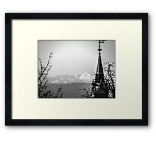 The Swiss Alps And A Zurich Church Spire Framed Print