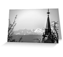 The Swiss Alps And A Zurich Church Spire Greeting Card