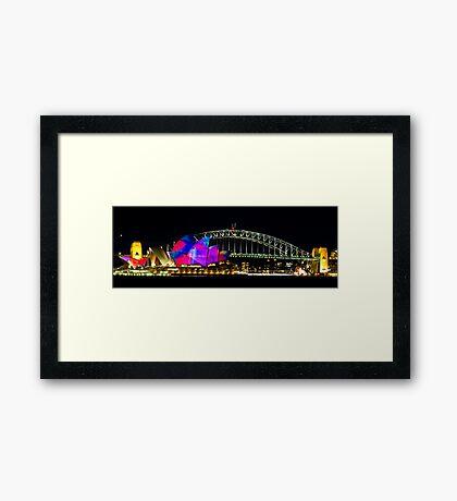 Sydney Opera House & Harbour Bridge - Vivid Festival Framed Print