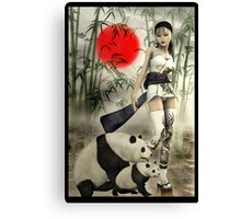 Oriental Girl With Her Panda's Canvas Print