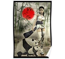 Oriental Girl With Her Panda's Poster