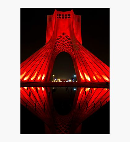 Azadi Tower (Red Reflection) -Tehran - Iran Photographic Print