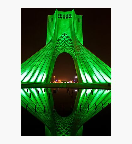 Azadi Tower (Green Reflection) -Tehran - Iran Photographic Print