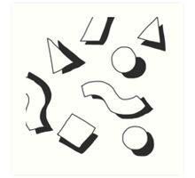 various shapes, black shadows Art Print