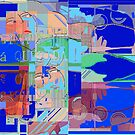 Collage in blues by Ana Johnson