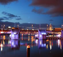 Lagan weir  at night  and tall ship in background (BY KEVIN) by Ciara(Kevin & Paula) Neupert