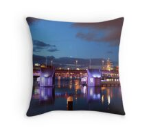 Lagan weir  at night  and tall ship in background (BY KEVIN) Throw Pillow