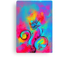 PINK FUCHSIA BLUE YELLOW WHIMSICAL FLOWERS Canvas Print