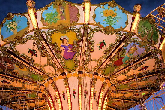 Ornate Swing Ride at Night on the Ocean City, NJ Boardwalk by Kim McClain Gregal