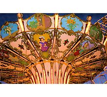 Ornate Swing Ride at Night on the Ocean City, NJ Boardwalk Photographic Print