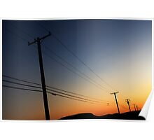 sunset phone poles Poster