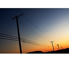 sunset phone poles Photographic Print
