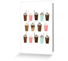 Iced Coffee - latte mocha coffee cafe summer cappuccino dessert sweet treat caramel pattern  Greeting Card