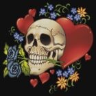 Skull Love with Hearts and Flowers by Al Rio by alrioart