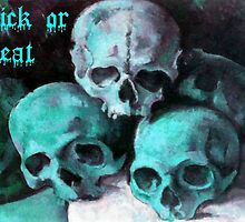 Trick or Treat Skulls Halloween Greeting by taiche